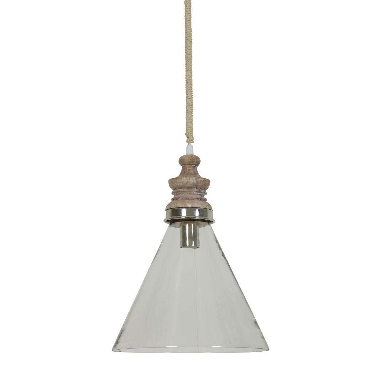 Lampa wisząca Sieba szkło drewno Ø27x36 cm 3052063 Light & Living